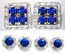 CAPRI BLUE TUXEDO SQUARE CUFFLINKS & ROUND STUDS MADE WITH AUSTRIAN CRYSTALS
