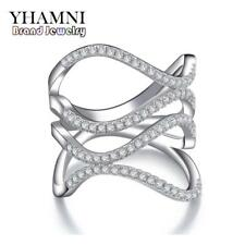 Top Brand Fashion S925 Stamped Real Sterling Silver Jewelry Ring Set CZ