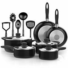 15 Piece Cookware Set Nonstick Kitchen Pots and Pans with Cooking Utensils NEW