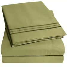 1800 SERIES - SOFT BRUSHED MICROFIBER BEDDING- SOLID 4PC BED SHEET SET ALL SIZES