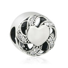 authentic 925 sterling silver Charm Bead Clear CZ Ribbon Heart Beads Fine Silver