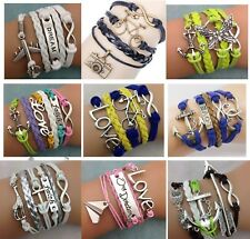 Lucy Handmade Infinity Antique Silver Friendship Charm Leather Bracelet Gift UK