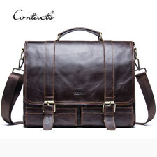 HANDMADE |  Men Retro Briefcase Business Shoulder Bag Leather Handbag Bag