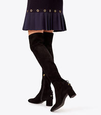 $650 New TORY BURCH Over The Knee LAILA OTK Black STRETCH Suede Boots Charms 7 9