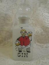 Vntg Hand-Painted Frosted Diamond Glass Square Gay Fad Barber Shop Gin Decanter