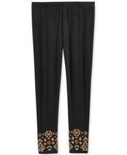 Girls Leggings Epic Threads Elastic Waist Gold Glitter Print Black Sz 5 6 6X NWT