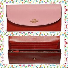 EASTER GIFT NWT COACH Colorblock Leather Slim Envelope Wallet BLUSH TERRACOTTA