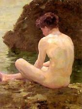 Classic English Impressionist art print:  July Sun by Henry Scott Tuke