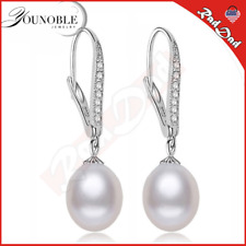 Real Freshwater Pearl Earring Sterling Silver 925 Jewelry,Drop Natural Pearl: