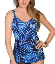 NEW Miraclesuit Size 14 Malibu Denim-ite Blue Tankini Top Swimsuit $108 NWT