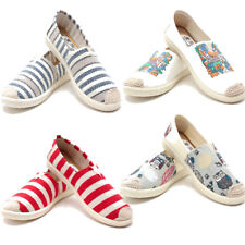 Women Classics Tom Loafers Canvas Slip-on Flats shoes Stripe Casual Shoes New