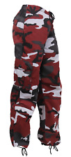 Womens  Army Military RED Camo Vintage Paratrooper Fatigues Cargo BDU Pants