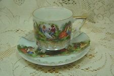 HANDPAINTED LEFTON CHINA FOOTED CUP & SAUCER VICTORIAN COUPLES THEME, GOLD TRIM
