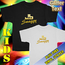 JUSTIN BIEBER TEE – T SHIRT – TOP – SWAGGY – GOLD GLITTER – KIDS SIZES