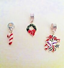 Silver Plated Enamel Christmas Dangle Charm Beads European or Clip On Charms