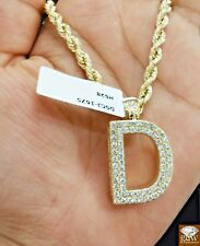 Real 14 K Gold 'D' Initial 1.97 CT Diamond Charm with 24 Inches 10 K Rope Chain