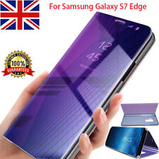 For Samsung Galaxy S7 Edge Case View Glossy Mirror Leather Flip Stand Back Cover
