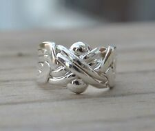6 piece Sterling Silver Puzzle Ring in sizes 5, 6, 7, 8, 9, 10, 11, 12