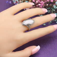 Women Marquise Cut Artificial Stone Shiny Rhinestone Finger Ring Jewelry Flowery