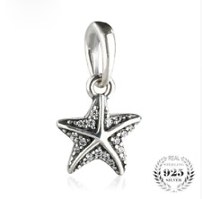 authentic Sterling Silver Beads Starfish Pendant Charms Pave Clear CZ Charm Bead