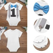 Infant Baby Boys 1st Birthday Romper+Bow Tie Bodysuit Outfits Kids Photo Props