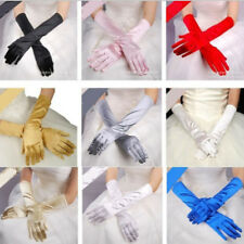 Women Long Stretch Satin Bridal Wedding Costume Dance Prom Evening Opera Gloves