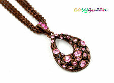 Swarovski Elements Crystal Rose Amber Green Drop Oval Chain Necklace Women Gift