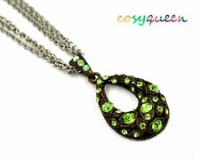 Swarovski Elements Crystal Green Amber Rose Drop Oval Chain Necklace Women Gift