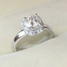 Fashion jewelry Silver Ring Solitaire Crystal Wedding Engagement Ring Zircon CZ