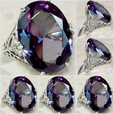 Fashion Jewelry Art Deco Band Color Changing Wedding Rings Sz6-10 CZ