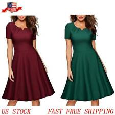Summer Women Short Sleeve V-Neck Slim Fit Casual Party Flare A-Line Swing Dress