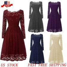Women 50s Vintage Lace Sexy Off Shoulder Swing Party Cocktail Evening Prom Dress