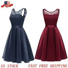 Women's Vintage Floral Lace Dress Short O-Neck Bridesmaid Cocktail Party Dresses