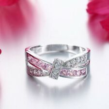 Fashion Sliver Plated Pink Rings Jewerly Women Wedding Rainbow Rings Size 6-10
