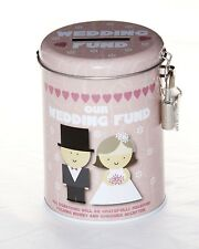 Wedding fund piggy bank coin tin. With padlock and 2 keys. Brand new. Pink