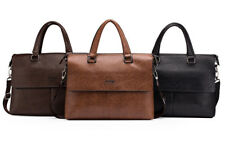 Briefcase Leather Attache Bag Laptop Messenger Men Shoulder Case Business Black