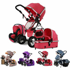 Baby Stroller 3 in 1 High View Pram Foldable Baby Pushchair Bassinet&Car Seat