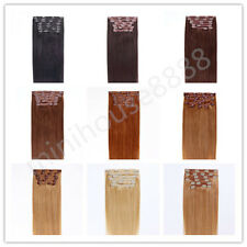 """Full Head 16"""" Indian Remy Human Hair Clip In Extensions 8pcs & 120g, 15 colors"""