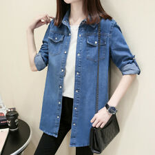 Lady Denim Jean Shirt Blouse Coat Long Sleeve Top Cotton Casual Retro Blue Solid
