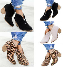 WOMENS BLOCK HEEL V-CUT ZIP-UP CHUNKY ANKLE BOOTS LADIES SHOES SIZES 5 6 7 7.5 8