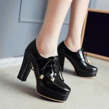Womens Lace-up platform Block High Heel Round Toe court shoes oxford new