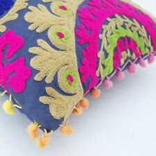 "Indian Handmade Embroidered Suzani Cushion Cover 16""Vintage Suzani Pillow_CaseS4"
