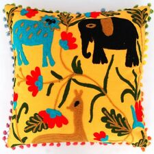 "INDIAN HANDMADE VINTAGE PILLOW CASE 16"" HOME DECOR SUZANI CUSHION COVER POM POM"