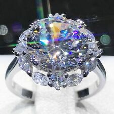 Dazzling Women Silver Plated White Topaz Gem Ring Engagement Wedding Jewelry
