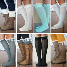 Fashion Ladies Women Girls Knee-High Socks Long Lace Hollow out Thigh Stockings