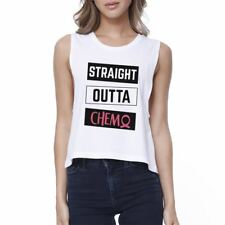 Straight Outta Chemo Breast Cancer Womens White Crop Top