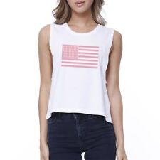 Breast Cancer Awareness Pink Flag Womens White Crop Top