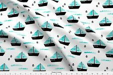 Fishing Sailing Boat Ocean Waves Water Blue Fabric Printed by Spoonflower BTY