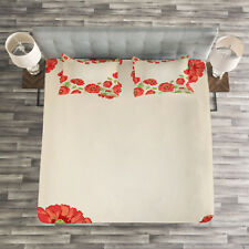 Floral Quilted Bedspread & Pillow Shams Set, Card with Poppy Flowers Print