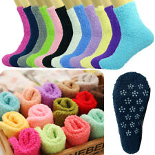 3-10 Pairs For Womens Soft Cozy Fuzzy Socks Non-Skid Solid Home Warm Slipper